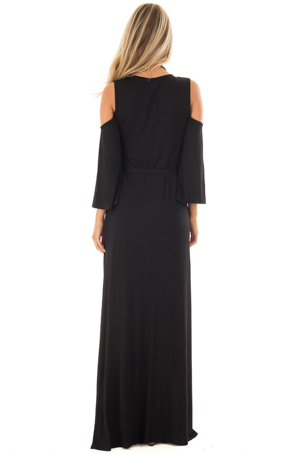 Black Jersey Knit Cold Shoulder Maxi Dress with Waist Tie back full body