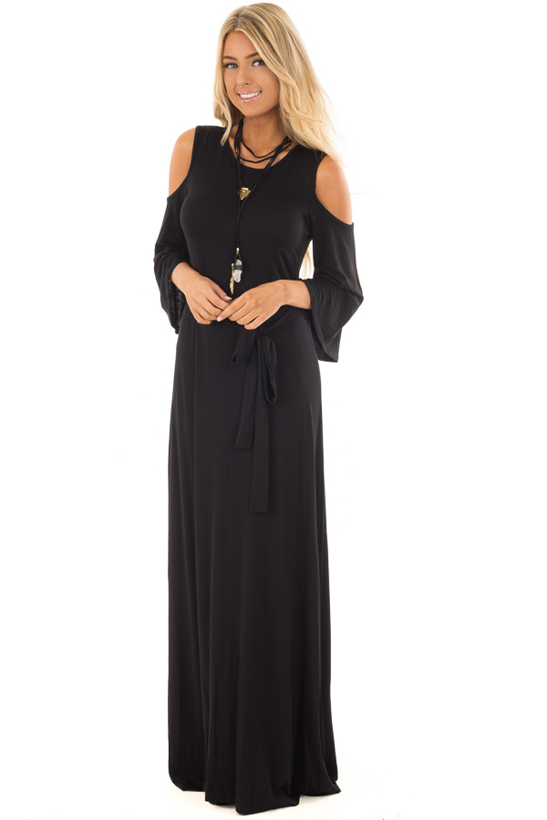 Black Jersey Knit Cold Shoulder Maxi Dress with Waist Tie front full body