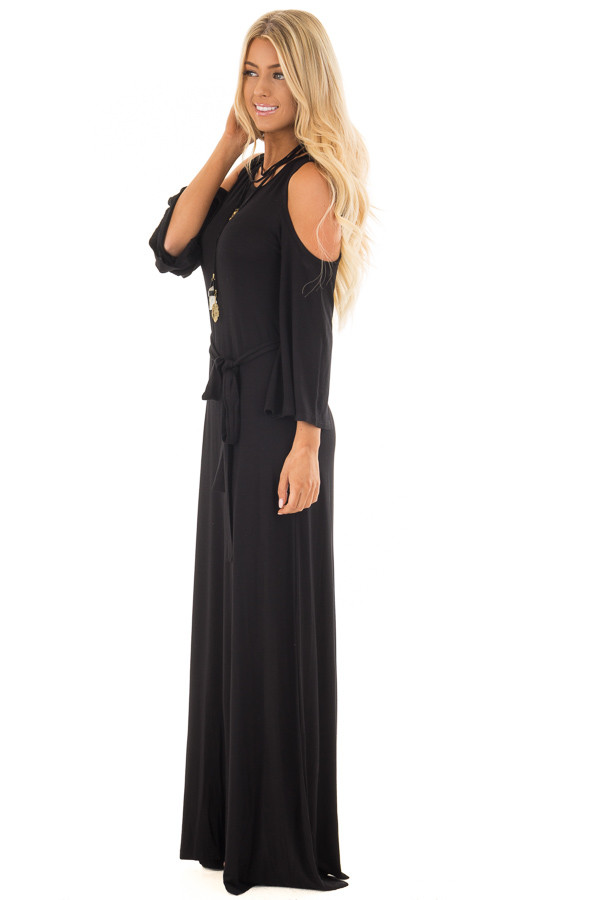 Black Jersey Knit Cold Shoulder Maxi Dress with Waist Tie side full body