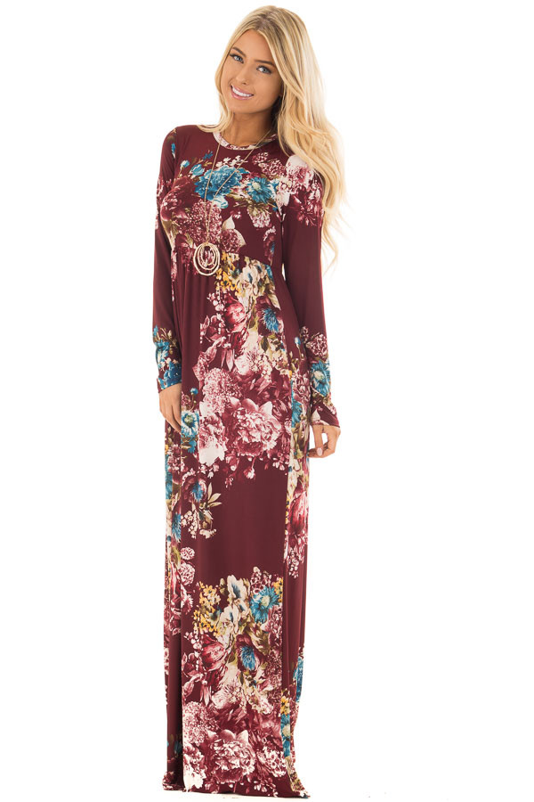 Burgundy Floral Print Slinky Maxi Dress with Pockets front full body
