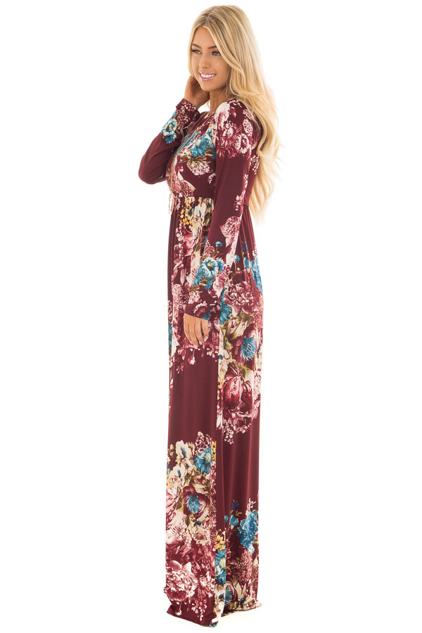 Burgundy Floral Print Slinky Maxi Dress with Pockets side full body