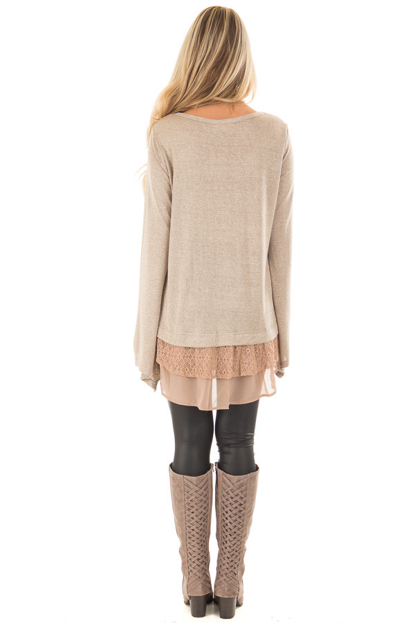 Mocha Bell Sleeve Top with Lace and  Chiffon Details back full body