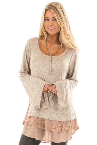 Mocha Bell Sleeve Top with Lace and  Chiffon Details front close up