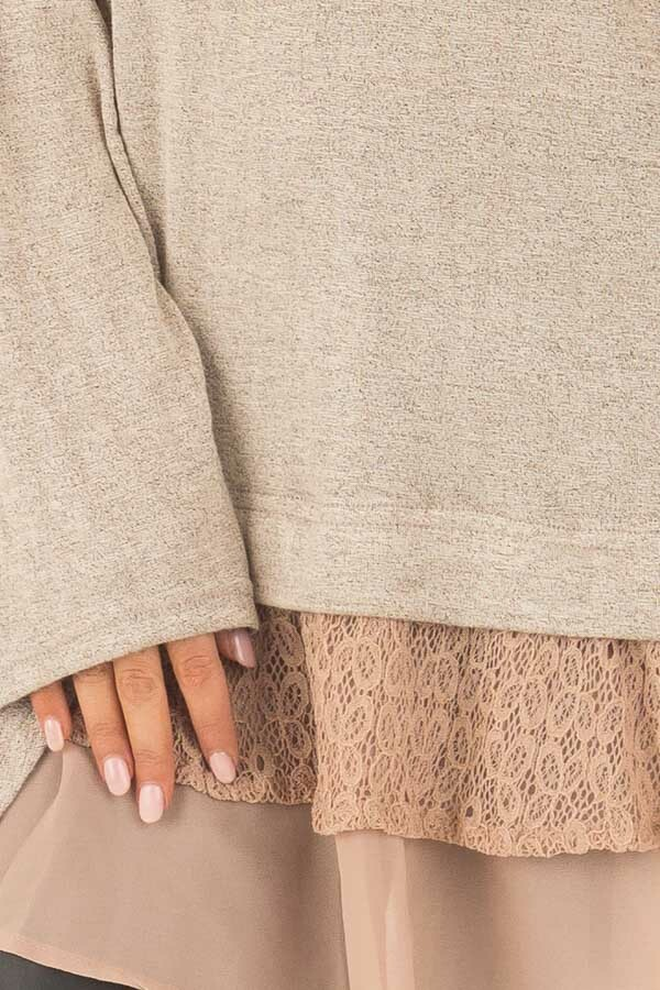 Mocha Bell Sleeve Top with Lace and  Chiffon Details detail