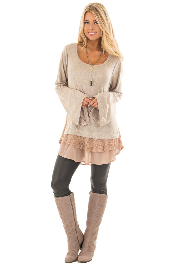 Mocha Bell Sleeve Top with Lace and  Chiffon Details front full body
