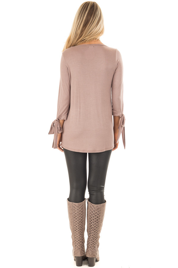 Mocha Comfy Jersey Knit Top with Sleeve Tie Details back full body