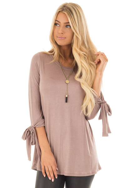 Mocha Comfy Jersey Knit Top with Sleeve Tie Details front close up