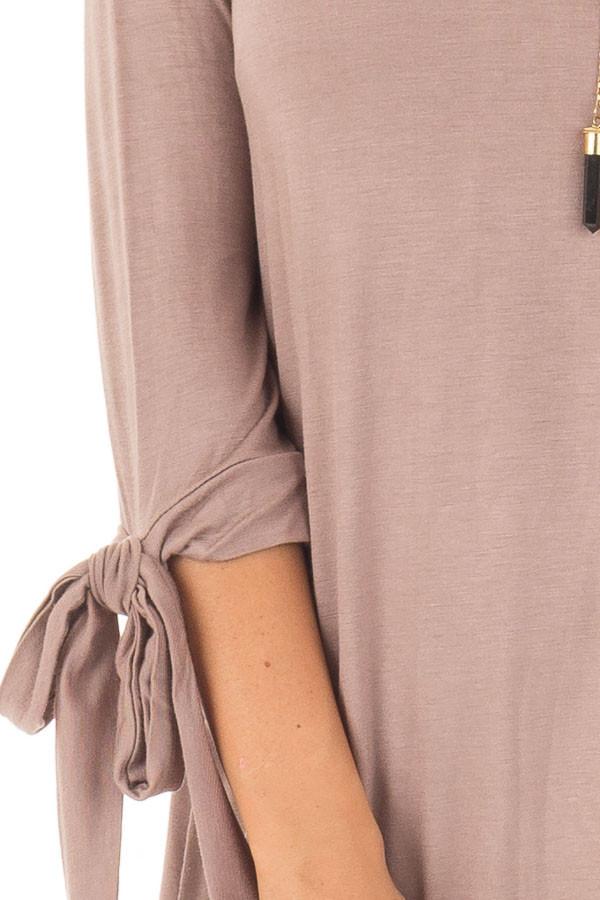 Mocha Comfy Jersey Knit Top with Sleeve Tie Details detail