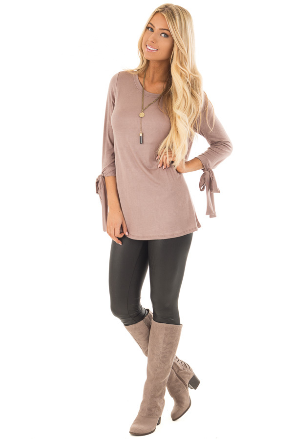 Mocha Comfy Jersey Knit Top with Sleeve Tie Details front full body