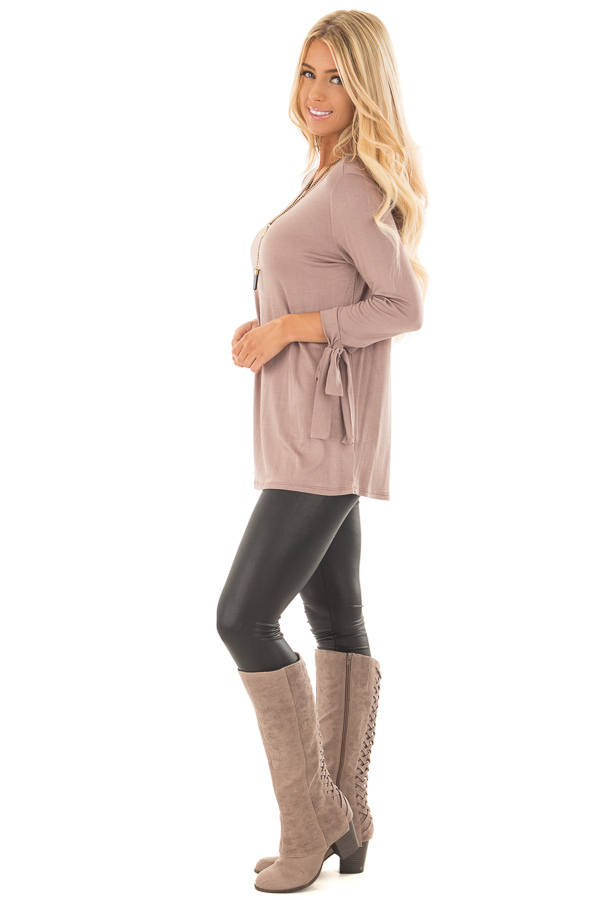 Mocha Comfy Jersey Knit Top with Sleeve Tie Details side full body