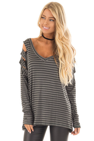 Olive Striped V Neck Top with Ladder Cut Out Sleeves front close up