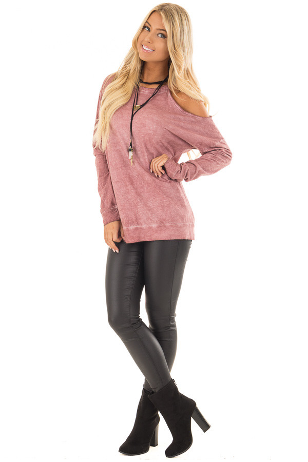 Dusty Rose Mineral Wash Single Bare Shoulder Long Sleeve Top front full body