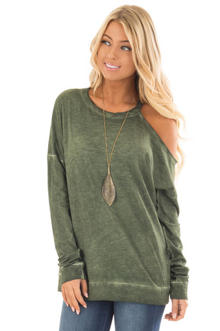 Olive Mineral Wash Single Bare Shoulder Long Sleeve Top front close up