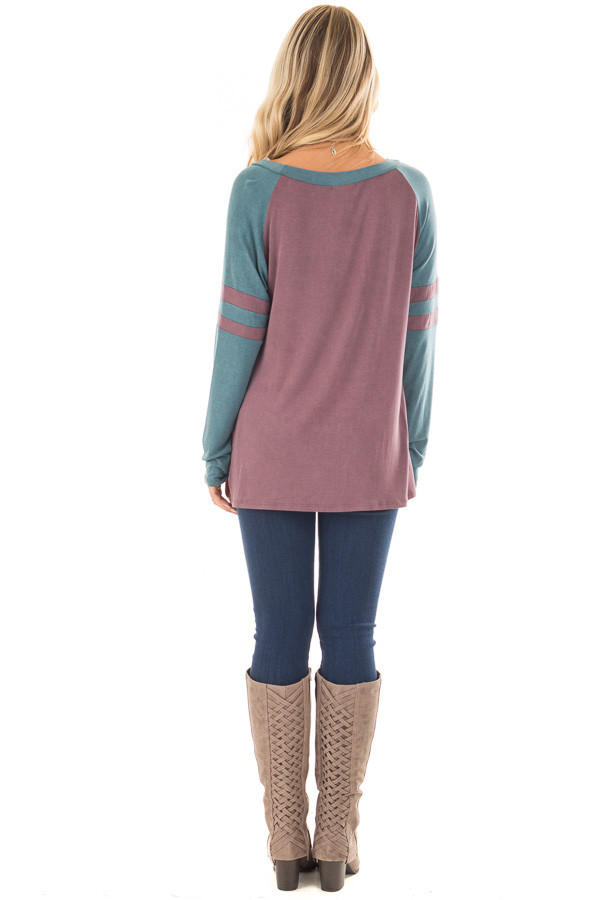Dark Mauve and Teal Washed Top with Striped Raglan Sleeves back full body