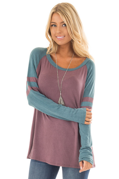 Dark Mauve and Teal Washed Top with Striped Raglan Sleeves front close up