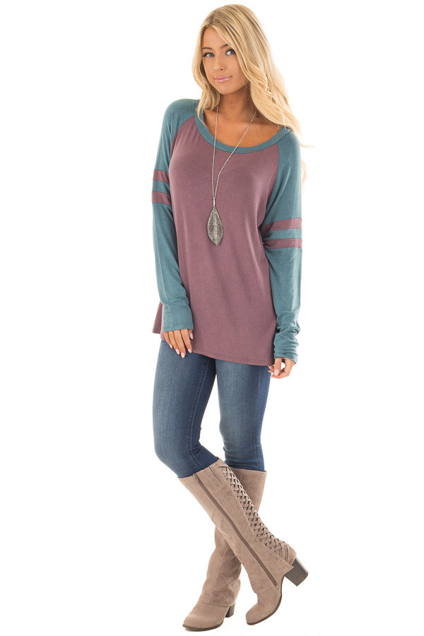 Dark Mauve and Teal Washed Top with Striped Raglan Sleeves front full body