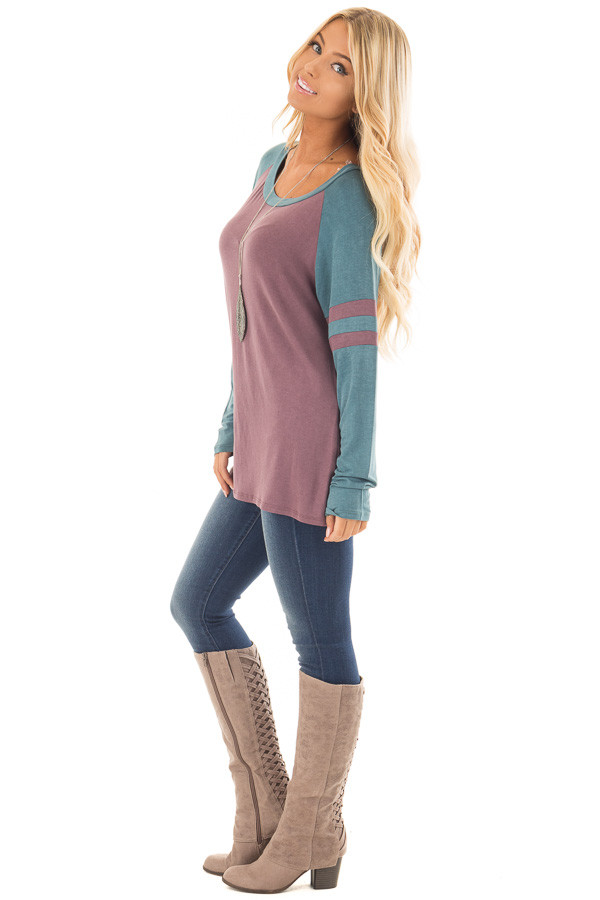Dark Mauve and Teal Washed Top with Striped Raglan Sleeves side full body