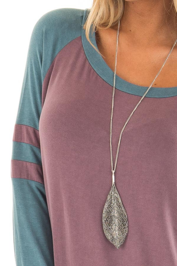Dark Mauve and Teal Washed Top with Striped Raglan Sleeves detail