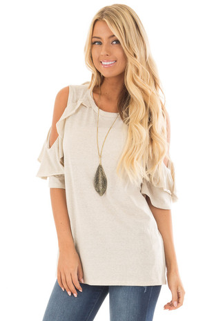 Sand Ruffled Cold Shoulder Short Sleeve Top front close up
