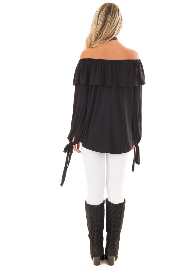 Black Off the Shoulder Top with Tie Sleeves and Ruffle Details back full body