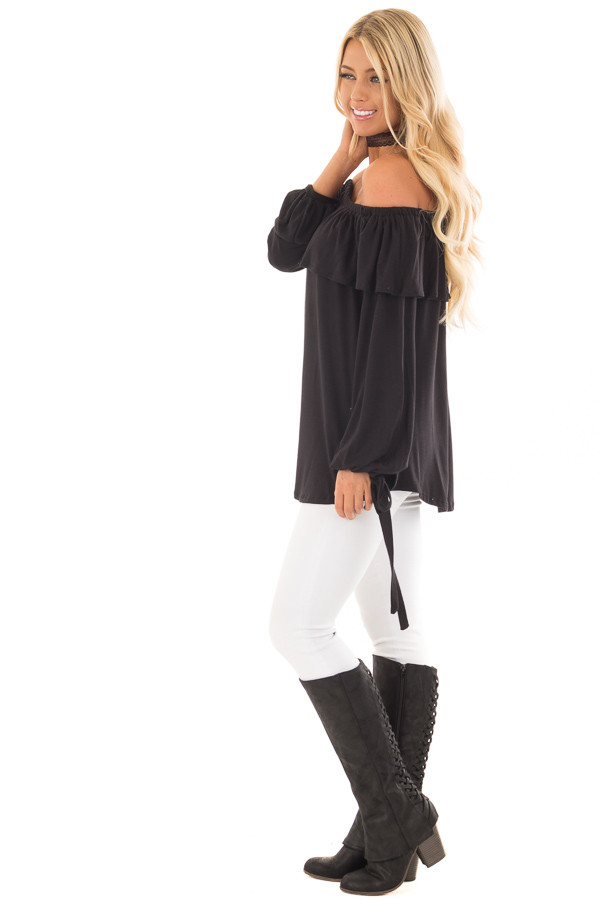 Black Off the Shoulder Top with Tie Sleeves and Ruffle Details side full body