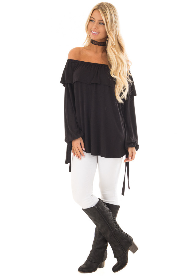 Black Off the Shoulder Top with Tie Sleeves and Ruffle Details front full body