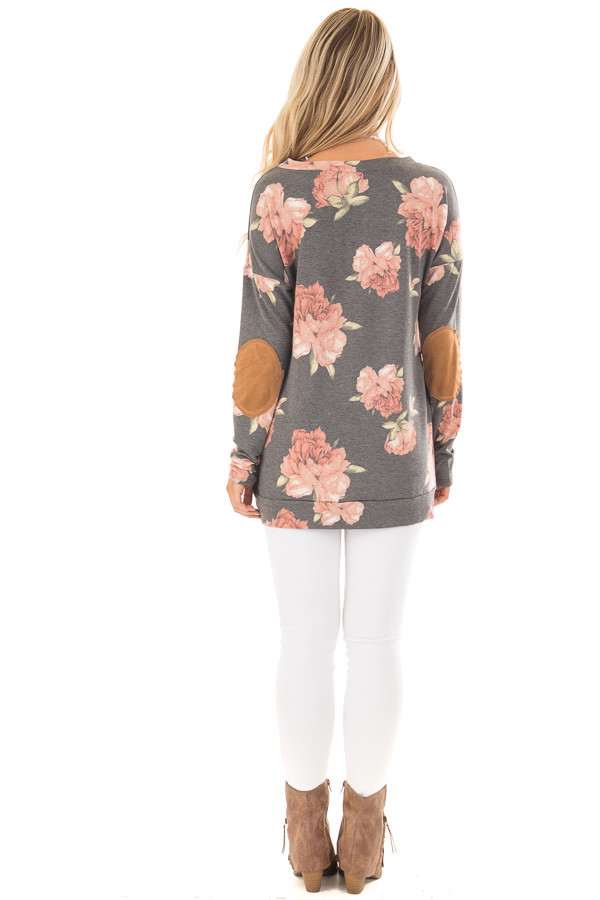 Charcoal Floral Print Top with Faux Suede Elbow Patches back full body
