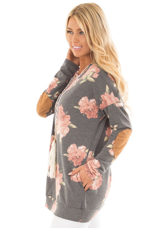 Charcoal Floral Print Top with Faux Suede Elbow Patches side close up