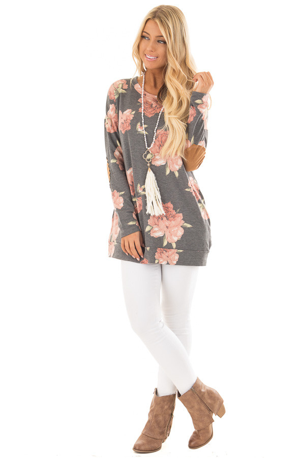 Charcoal Floral Print Top with Faux Suede Elbow Patches front full body