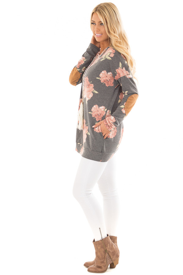 Charcoal Floral Print Top with Faux Suede Elbow Patches side full body