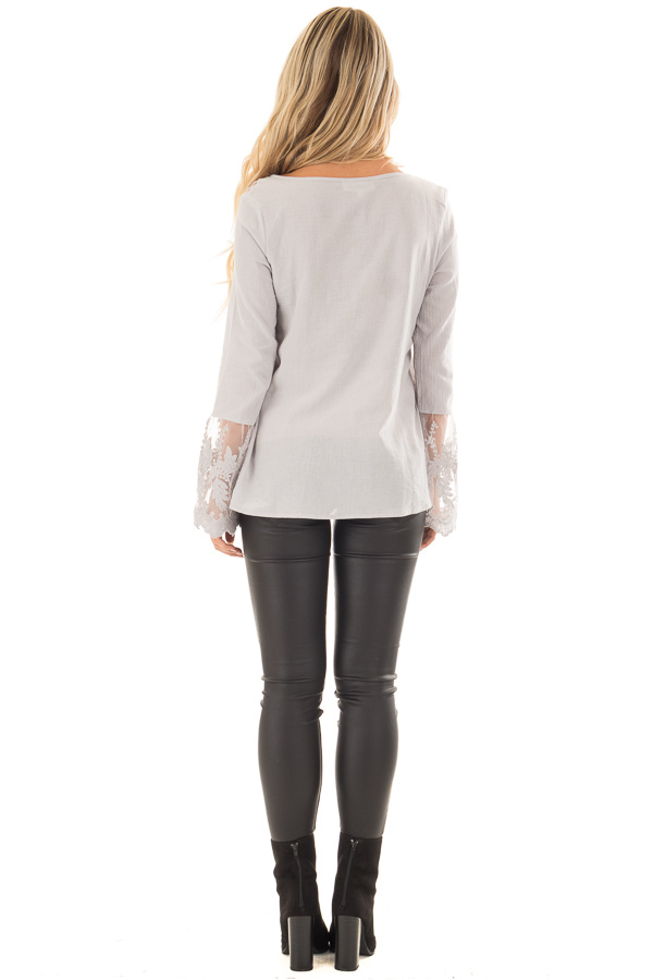 Light Grey Top with Sheer Lace Bell Sleeves back full body