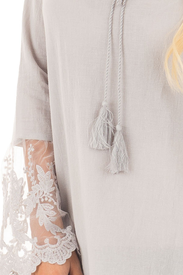 Light Grey Top with Sheer Lace Bell Sleeves front detail