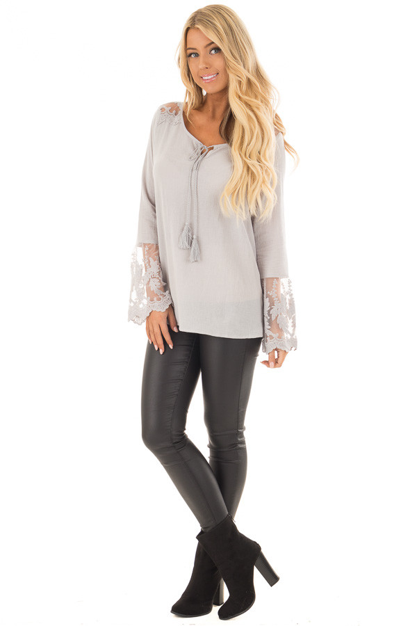 Light Grey Top with Sheer Lace Bell Sleeves front full body