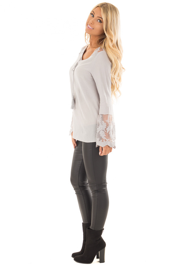 Light Grey Top with Sheer Lace Bell Sleeves side full body