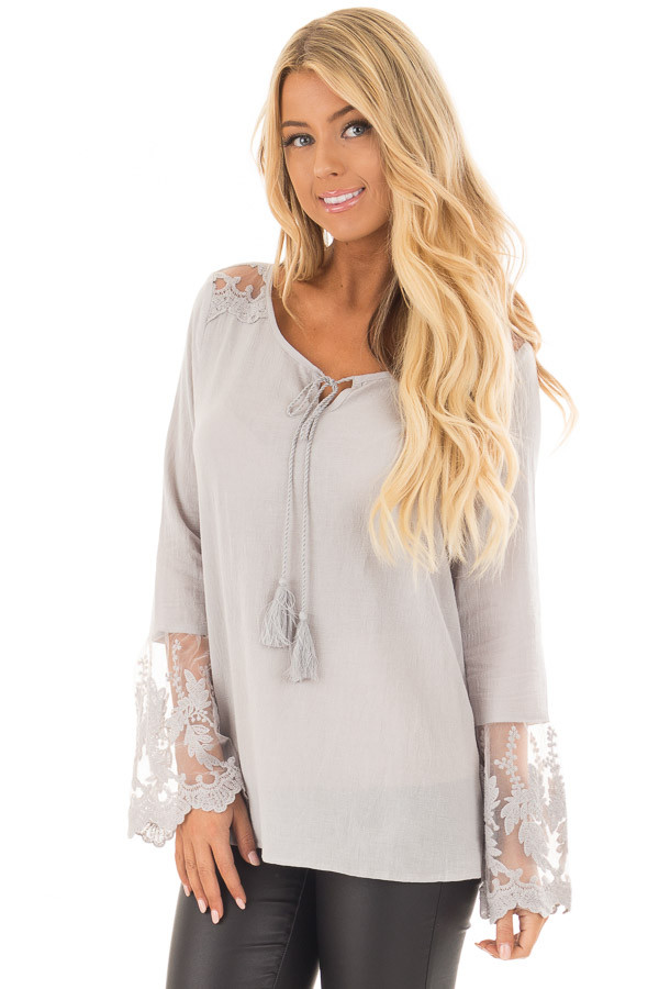 Light Grey Top with Sheer Lace Bell Sleeves front close up