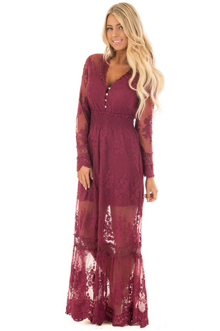 Wine Lace Long Sleeve Maxi Dress with Gathered Waist front full body