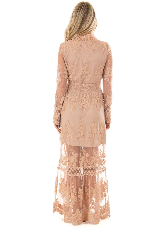 Nude Lace Long Sleeve Maxi Dress with Gathered Waist back full body