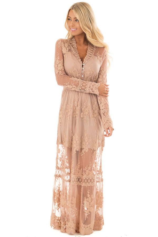 Nude Lace Long Sleeve Maxi Dress With Gathered Waist