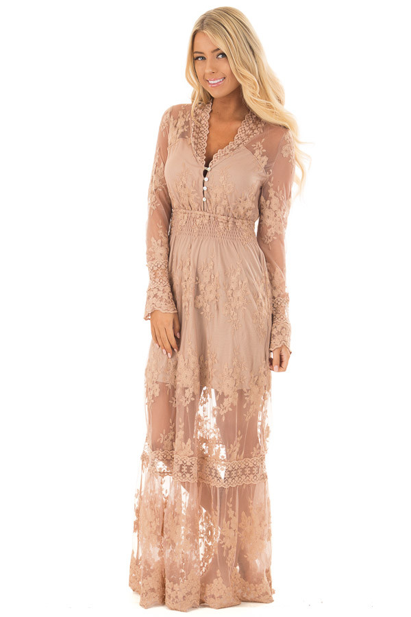 Nude Lace Long Sleeve Maxi Dress with Gathered Waist front full body