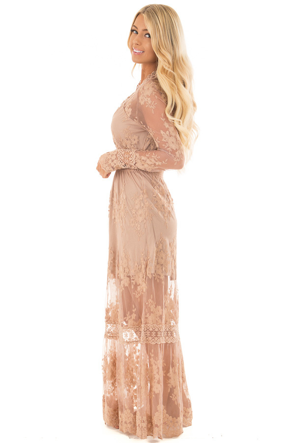 Nude Lace Long Sleeve Maxi Dress with Gathered Waist side full body