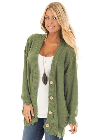 Olive Oversized Cardigan with Pockets and Scalloped Edges front close up