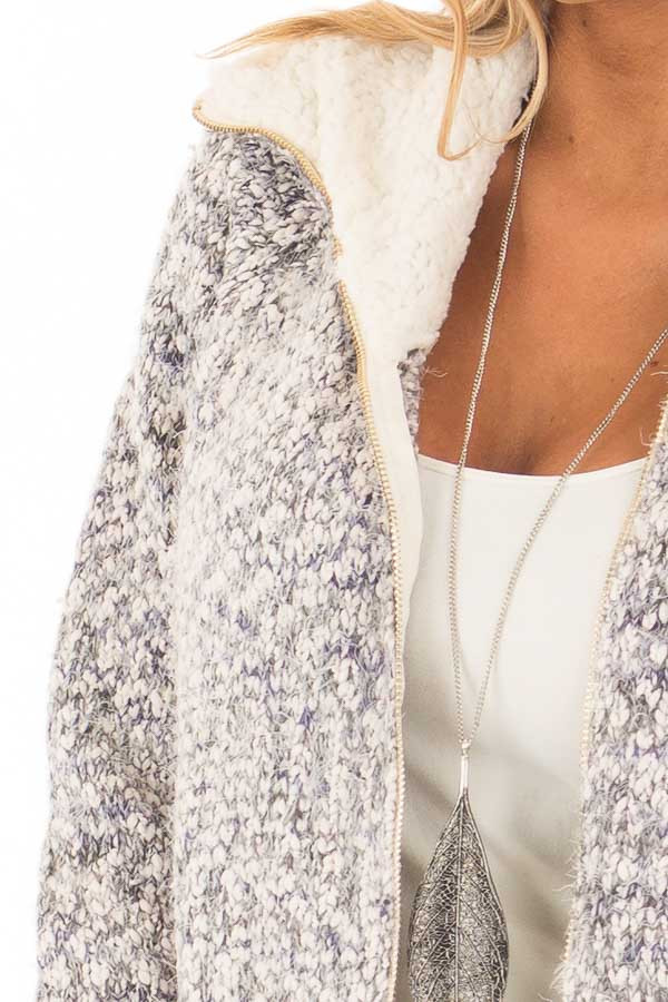 Blue Ivory Two Tone Zip Up Sweater Cardigan detail