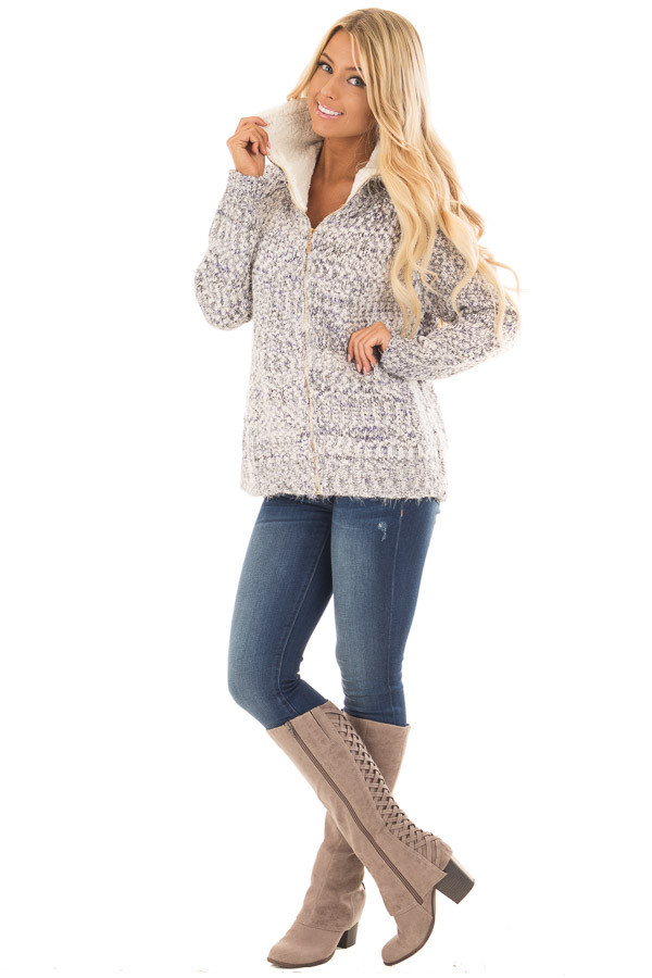 Blue Ivory Two Tone Zip Up Sweater Cardigan front full body