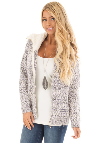 Blue Ivory Two Tone Zip Up Sweater Cardigan front close up