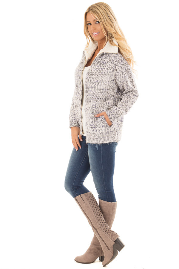 Blue Ivory Two Tone Zip Up Sweater Cardigan side full body