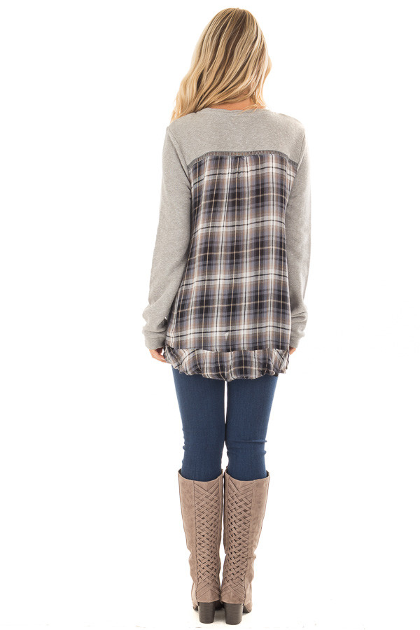 Heather Grey Sweater with Plaid Contrast Back back full body
