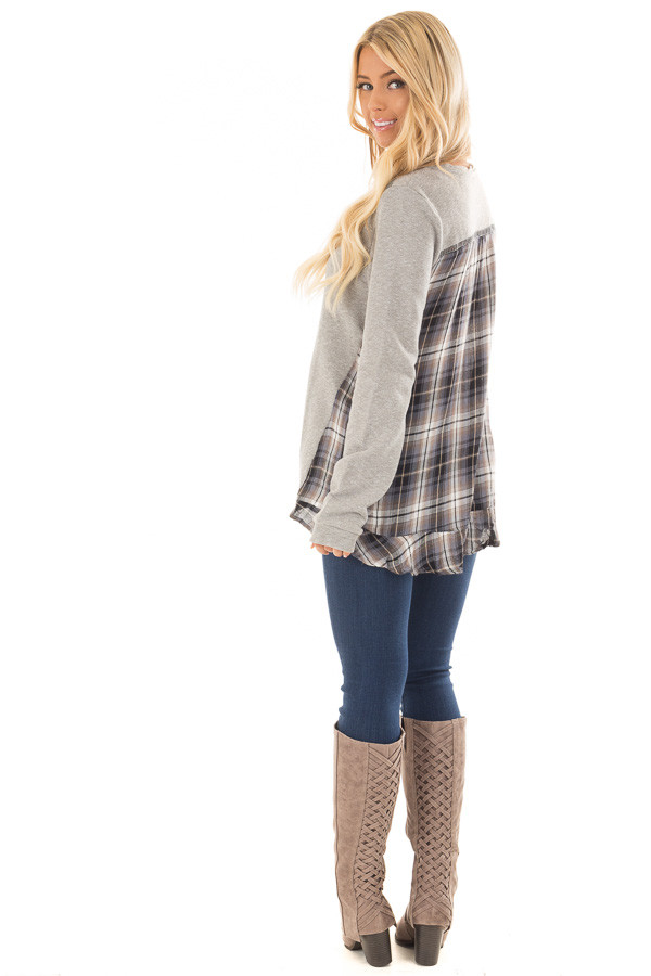 Heather Grey Sweater with Plaid Contrast Back back side full body