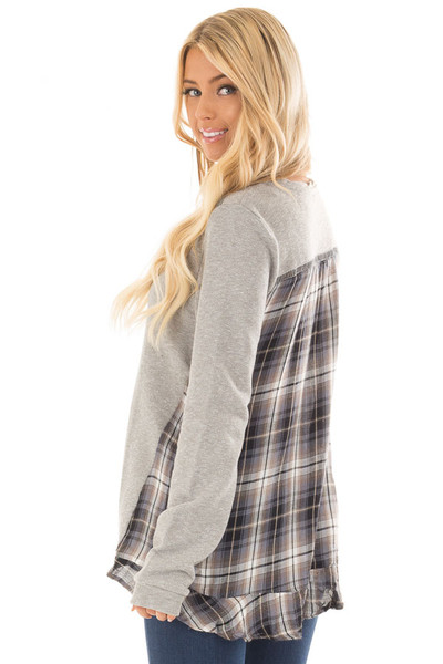Heather Grey Sweater with Plaid Contrast Back back side close up