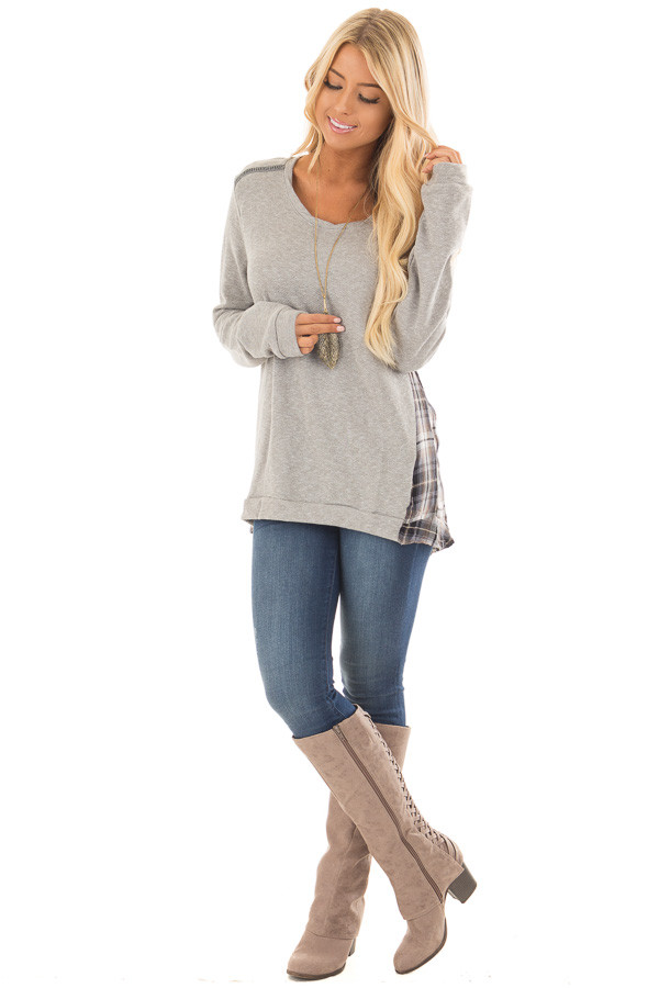 Heather Grey Sweater with Plaid Contrast Back front full body