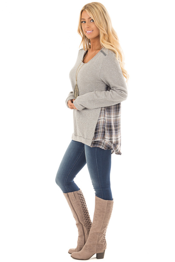 Heather Grey Sweater with Plaid Contrast Back side full body